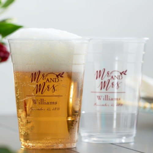 Personalized Clear Plastic Cups Wedding Favours