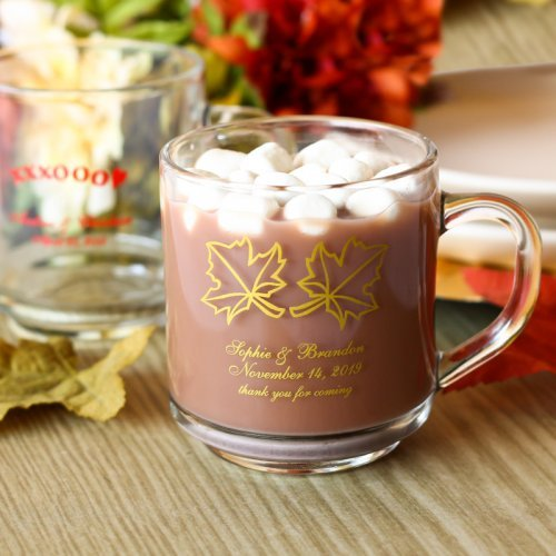 Personalized Glass Mugs with Handle Wedding Favours