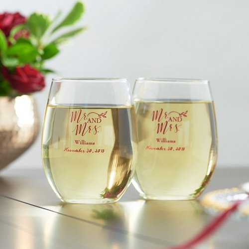 Personalized 15 oz. Stemless Wine Glass Wedding Favours