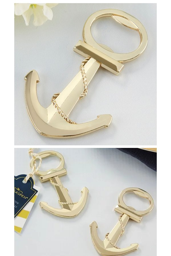 Gold Nautical Anchor Bottle Opener Wedding Favours