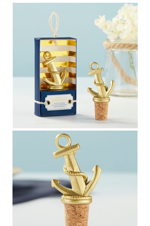 Gold Nautical Anchor Bottle Stopper Wedding Favours