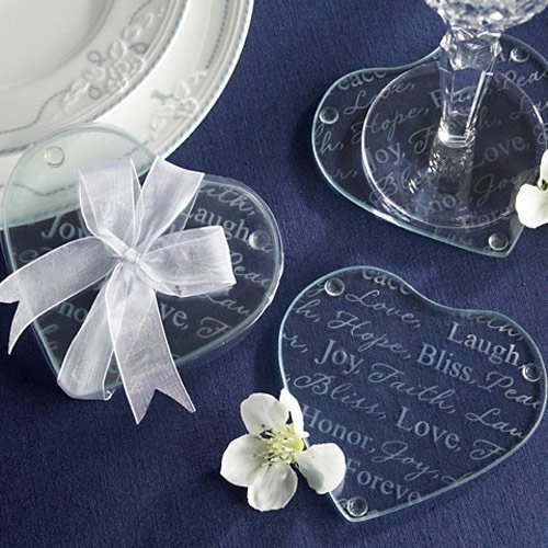 Good Wishes Heart Glass Coaster Wedding Favours