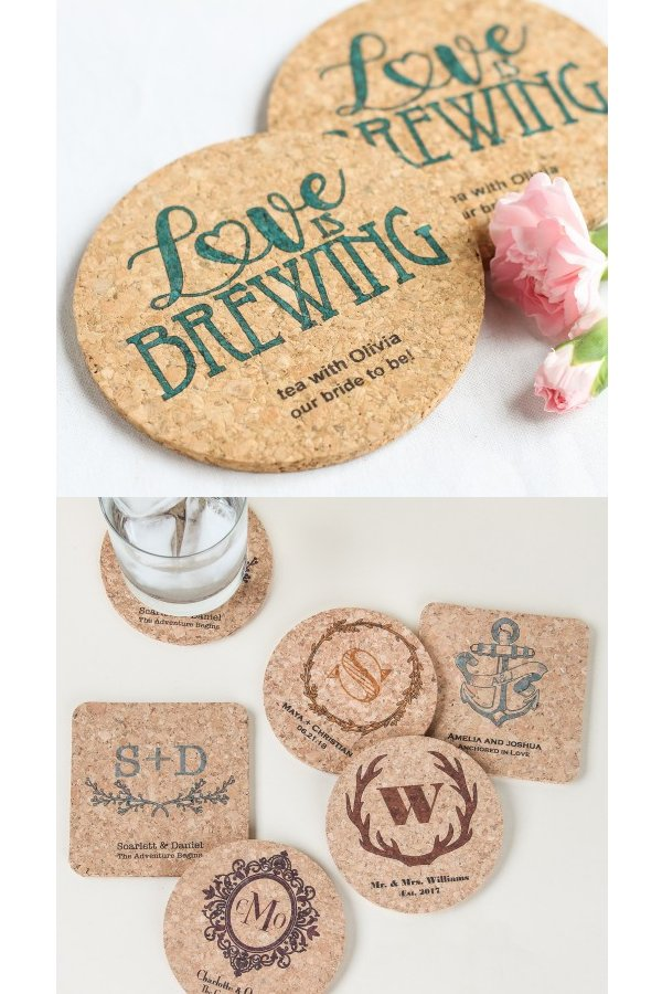 Personalized Cork Coaster Wedding Favours