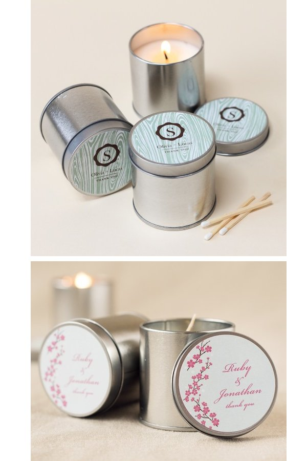 Personalized Travel Candle Tin Wedding Favours