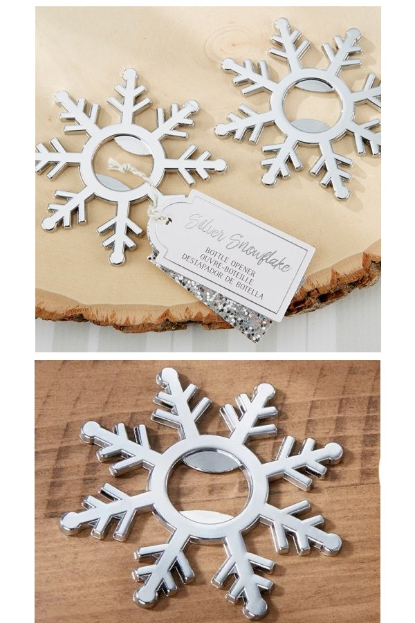 Silver Snowflake Bottle Opener Wedding Favours