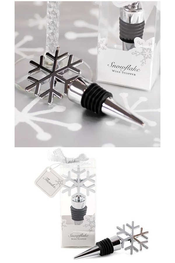 Silver Snowflake Bottle Stopper Wedding Favours