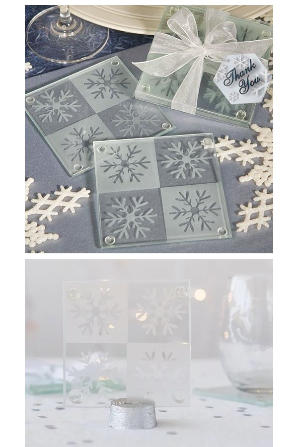 Snowflake Glass Coasters Wedding Favours