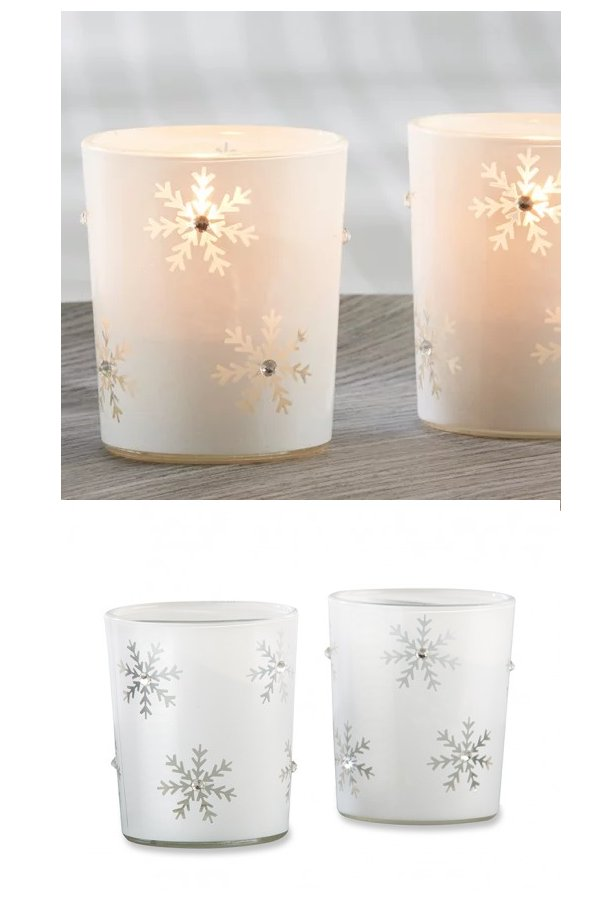 Snowflake Glass Tealight Holder Wedding Favours