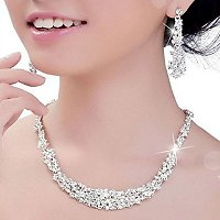 Wedding Jewelry Crystal Rhinestone Silver Earrings and Necklace