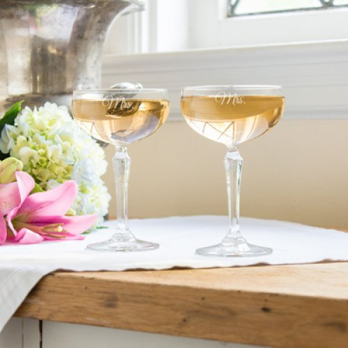 Wedding Reception Personalized Champagne Coupe Flutes