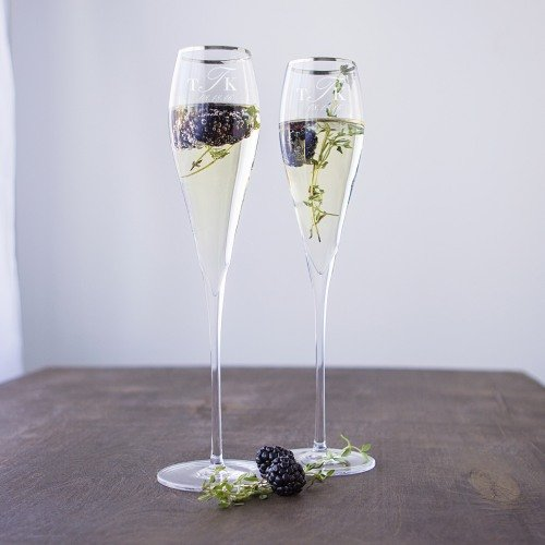 Wedding Reception Personalized Rim Champagne Flutes